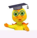 Het grappige 3d de graduatieglb diploma van het draakkarakter geeft terug Stock Foto's