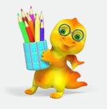 Het grappige draakkarakter houdt potlood het 3d teruggeven Royalty-vrije Stock Foto