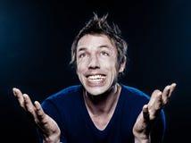 Het grappige extatische Portret van de Mens royalty-vrije stock foto's