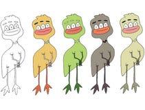 Het grappige gekleurde beeldverhaal schrijft gemaakte hand - trek de vreemdelingenkip van het krabbelmonster vector illustratie