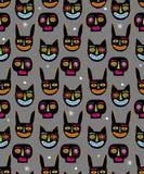 Het grappige Hand Getrokken Abstracte Vectorpatroon van Halloween Konijntje, Katten en Schedel Zwarte Hoofden stock illustratie