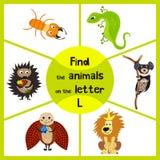 Het grappige het leren labyrintspel, vindt alle 3 leuke wilde dieren met de brief L, woestijnhagedis, de leeuw van de Savanne en  Stock Afbeelding