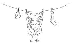 Het grappige hond hangen in broek op kleren drogere kabel royalty-vrije illustratie