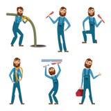 Het grappige karakter van hersteller of loodgieter in verschillend stelt Vectormascotteontwerp stock illustratie
