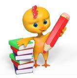 Het grappige kippenkarakter met rood potlood en boek isoleerde 3d ren Royalty-vrije Stock Afbeeldingen