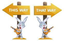 Het grappige konijn met een gitaar dichtbij voorziet Deze manier en dat van wegwijzers Stock Fotografie