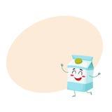 Het grappige leuke karakter van de melkdoos met een schuwe glimlach Stock Foto