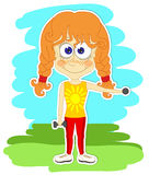 Het grappige meisje doet gymnastiek- oefeningen royalty-vrije illustratie