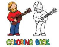 Het grappige musicus of gitaristboek van Coloring stock illustratie