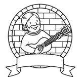 Het grappige musicus of gitaristboek van Coloring embleem stock illustratie