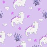Het grappige naadloze patroon van de babydinosaurus vector illustratie