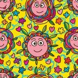 Het grappige naadloze patroon van het bloemgezicht Royalty-vrije Stock Afbeelding
