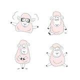 Het grappige ontwerp van het schapenkarakter Stock Afbeelding