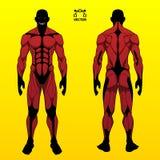 Het grappige ontwerp van het stijl supervillian karakter in klassiek rood kostuum met scherp tandenkwaad smyle, illustratie vector illustratie