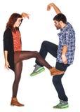 Het grappige paar dansen royalty-vrije stock foto