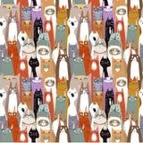 Het grappige patroon van beeldverhaal naadloze katten Stock Afbeelding