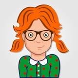 Het grappige portret van het beeldverhaalmeisje met glazen royalty-vrije illustratie