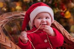 Het grappige portret van de Kerstmisbaby Stock Fotografie