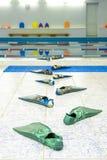het grappige spoor van vinnen gaat naar het water in een zwembad stock fotografie
