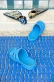 het grappige spoor van vinnen gaat naar het water in een zwembad stock foto