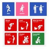 Het grappige Toilet ondertekent Creatieve Uithangborden Stock Afbeeldingen