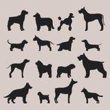 Het grappige van het het karakterbrood van de beeldverhaalhond zwarte silhouet in de vectorillustratie van de beeldverhaalstijl Royalty-vrije Stock Foto's