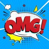 Het grappige van letters voorzien OMG! in het grappige de stijl vlakke ontwerp van de toespraakbel stock illustratie