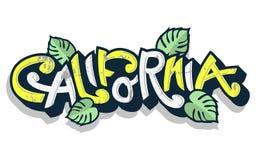 Het Grappige Van letters voorzien van Californië met Palmbladen op een Witte Achtergrond Stock Foto