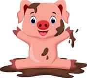 Het grappige varken spelen in de modder Stock Afbeelding