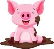 Het grappige varken spelen in de modder Royalty-vrije Stock Afbeelding