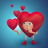Het grappige verwarde karakter van het hartbeeldverhaal Stock Foto's