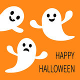 Het grappige vliegende spook Glimlachen en droevig gezicht met tand Gelukkig Halloween De kaart van de groet Leuk beeldverhaalkar Royalty-vrije Stock Foto's