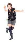 Het grappige vrouw springen Stock Afbeelding