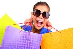 Het grappige vrouw winkelen Stock Foto