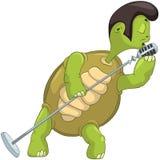 Het grappige Zingen van de Schildpad. Royalty-vrije Stock Afbeelding
