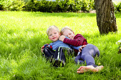 In het gras Stock Foto's