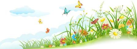 Het gras en de bloemen van de lente vector illustratie