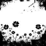 Het gras en de bloemvector van Grunge Stock Fotografie