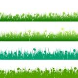 Het gras en de installaties detailleerden silhouetten Eps 10 Stock Afbeeldingen