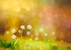 Het gras van de olieverfschilderijaard - paardebloemenbloemen stock illustratie