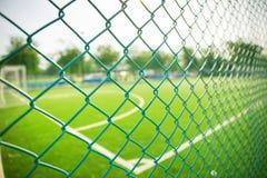 het gras van het voetbalgebied stock afbeeldingen