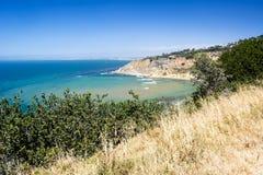 Het grasrijke strand overziet in Californië Stock Foto's