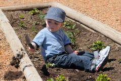 Het graven van de jongen in vuil Stock Afbeeldingen