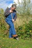 Het graven van de landbouwer Royalty-vrije Stock Fotografie