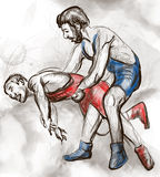 Het Grieks-Romeinse worstelen Een hoogtepunt - met maat hand getrokken IL Royalty-vrije Stock Fotografie