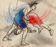 Het Grieks-Romeinse worstelen Een hoogtepunt - met maat hand getrokken IL Stock Foto's