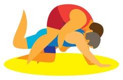 Het Grieks-Romeinse worstelen om zijn tegenstander op de mat aan te vallen vector illustratie
