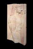 Het Griekse graf stele toont jonge doryphoros (550 V.CHR.) Stock Afbeelding