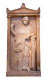 Het Griekse graf stele van Piraeus toont een rijpe vrouw (375-350 V.CHR.) Stock Afbeeldingen
