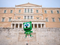 Het Griekse parlement met ballon Stock Foto